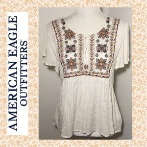 AEO Embroidered Floral Boho Top
